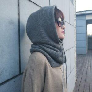 Damen Schal Mütze Kaschmir Wollmischung Gestrickte Hüte Einfarbige Wintermütze