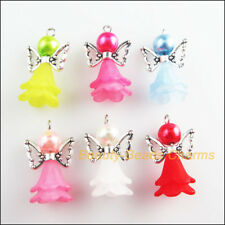 6Pcs Mixed Glass Acrylic Dancing Angel Wings Flowers Charms Pendants 14.5x18.5mm