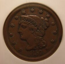 1857 Braided Hair Large Cent, N-1, Large Date, AU-50