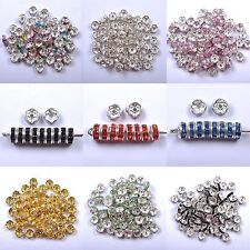100Pcs…Crystal Rhinestone SILVER PLATED Rondelle Spacer Beads For Jewelry Making