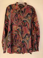 RALPH LAUREN Cotton Women Dark Multi Paisley Long Sleeve Shirt Top Blouse Sz XXL