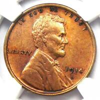 1914-D Lincoln Wheat Cent 1C - Certified NGC AU Details - Rare Key Date Penny!