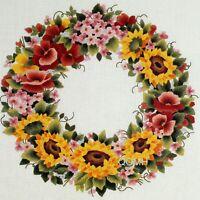 Elsa Williams SUNSHINE WREATH Crewel Kit Jamie Carter Sunflowers Pansies Violets
