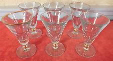 6 verres bistrot bord doré bar glass