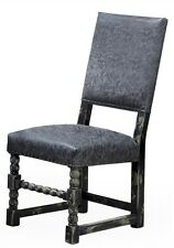 Set of Four Dining Chair Dark Leather Distressed finish wood frame