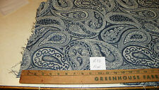 Blue Off White Paisley Print Damask Fabric / Upholstery Fabric  1 Yard  R33