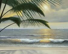 Paradisio by Diane Romanello Seascape Tropical Sailboats  35x28 Canvas Giclee