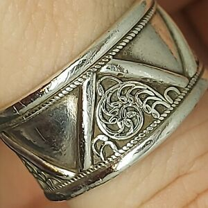 Solid sterling silver 925 Ring MR02-C8 large mens adjustable cuff jewelry X