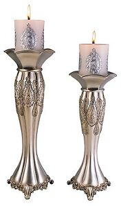 New Silver Paisley Candleholder Set with candles