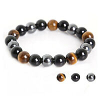 Triple Protection Bracelet Hematite Black Agate Gift 10mm Healing 20 Beads Rope