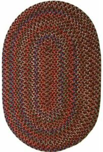 Katie Soft Textured Tweed Polypropylene Country Braided Rug Burgundy Multi KA43