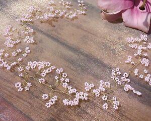 Gold Hair Vine Pink Wedding Tiara Crown Cherry Blossom baby's Breath bridal prom