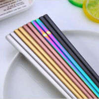 1Pair Stainless Steel Eating Chopsticks Colorful Metal Chop Sticks Tableware HOT