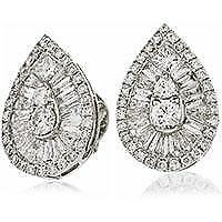 1.30ct F VS Genuine Diamond Cluster Pear Shape Earrings Pierced 18ct White Gold