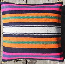 (45*45CM, 18 INCH) Boho handwoven kilim cushion cover fluro stripes orange navy
