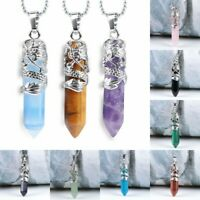 Hexagonal Natural Quartz Crystal Chakra Healing Alloy Pendant Chain Necklace HR