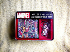 NEW! MARVEL CAPT. AMERICA/SPIDERMAN/THOR COMICS WALLET,KEYCHAIN+ COLLECTIBLE TIN