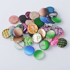10pcs 20x3mm Oblate Shell Painted Patterns Loose Charm Beads