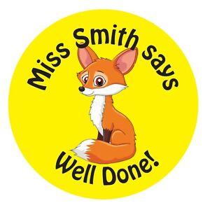 80 Personalised Teacher Reward Stickers for Pupils Yellow Fox teacher gift.
