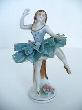 Vintage Ballerina Dancing Ballet Blue Lace Tutu Skirt Japan Porcelain Figurine