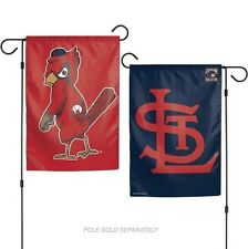 "ST. LOUIS CARDINALS COOPERSTOWN COLL.  2 SIDED GARDEN FLAG 12""X18"" YARD BANNER"