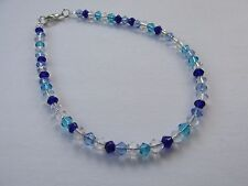 Handmade Blue Turquoise Crystal Mix Glass Bead Beady Anklet Ankle Chain