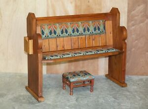 VINTAGE LIBERTY'S LONDON IANTHE UPHOLSTERED PITCH PINE PEW BENCH & FOOTSTOOL