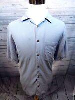 Jos A Bank Large Men's Casual Shirt Blue Check Short Sleeve 100% Silk