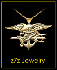NAVY SEAL Emblem Necklace - gold special warfare trident USN insignia 24""