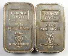 1980 USVI Ingot Co A-Mark Amark 1 oz .999 Silver Ingot Bars - A154S & A157S Lot