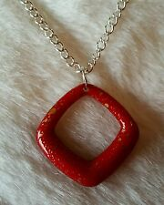 *New* Red & Gold Speckled Triangle On Silver Necklace/ unusual
