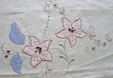 """unused Madeira tablecloth 97x61"""" warm cream w blue + pink appliques+embroidery"""