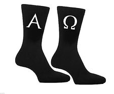 Alpha & Omega Greek Letter Design Mens Black Socks