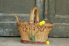 Picnic Basket Travel Wicker Hand Picnic Storage Basket Vintage Travel Basket