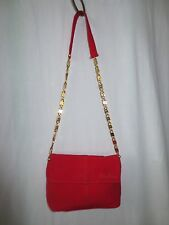 Paloma Picasso Shoulder purse Red Suede Leather evening Handbag Gold chain strap