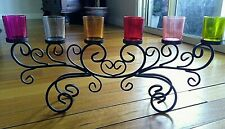 WROUGHT IRON TEA CANDLE HOLDER WITH 6 X DIFFERENT COLOURED GLASSES