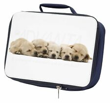 More details for five golden retriever puppy dogs navy insulated school lunch box bag, ad-gr4lbn