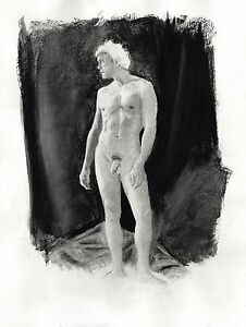 HELIOS, charcoal drawing classic NR 1/46/50 Esteban Pencil nude male FREE SHIP