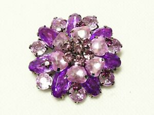 NEW Pretty Large Gunmetal Grey, Purple & Pink Faux Crystal Layered Floral BROOCH