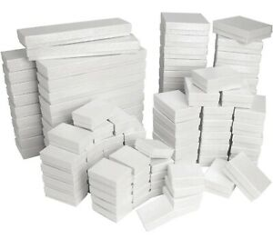 Lot of 20 50 100 White Cotton Filled Jewelry Packaging Gift Boxes Choose Size