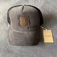 Filson Alcan Grey Cord/Black Mesh Trucker Cap/Hat w/ USFS Leather patch NWT Rare