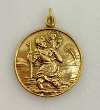 Gold Saint Christopher Pendant 9ct Yellow Gold St. Chris Round Pendant Good Luck