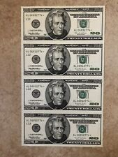 UNCUT SHEET OF 4 $20 BILL NOTE STAR UNCIRCULATED SAN FRANCISCO YEAR 1996