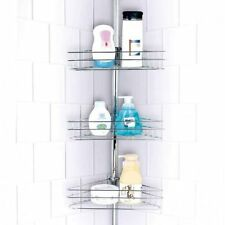 3 Tier Corner Shower Rack Caddy Bathroom Shelf Organiser Unit New