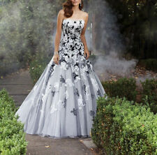 New Strapless Black/White Lace A Line Bridal Gown Wedding Dress Size 4 6 8 10 16