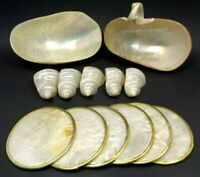 VINTAGE 1950s MOTHER OF PEARL SHELL 13 PC CREAMER SUGAR COASTERS NAPKIN RINGS