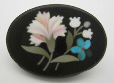 Antique Victorian Pietra Dura Flower Brooch