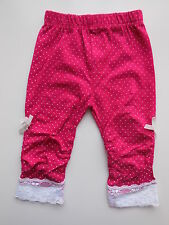 NEW Mothercare baby girl hot pink spot leggings w lace size 0000 Newborn 4.5kg