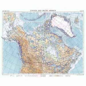 CANADA and ARCTIC AMERICA on Chamberlin Trimetric Projection - Vintage Map 1956