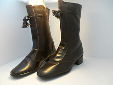 Vintage  MOD 1960's dark brown mid-calf tassle boots  ITALY FASCINATORS sz 7
